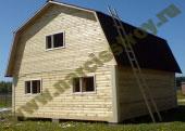 Брусовой дом 6х8 из бруса с ломанной крышей