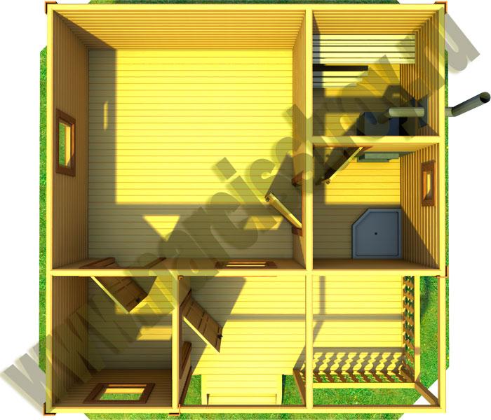 3D План-схема одноэтажной