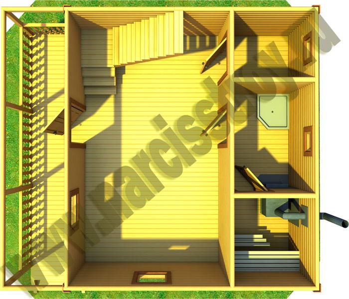 Дом-баня 6*7.5 из бруса с