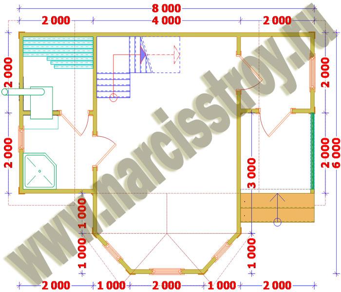 План-схема 1-го этажа бани 6*8