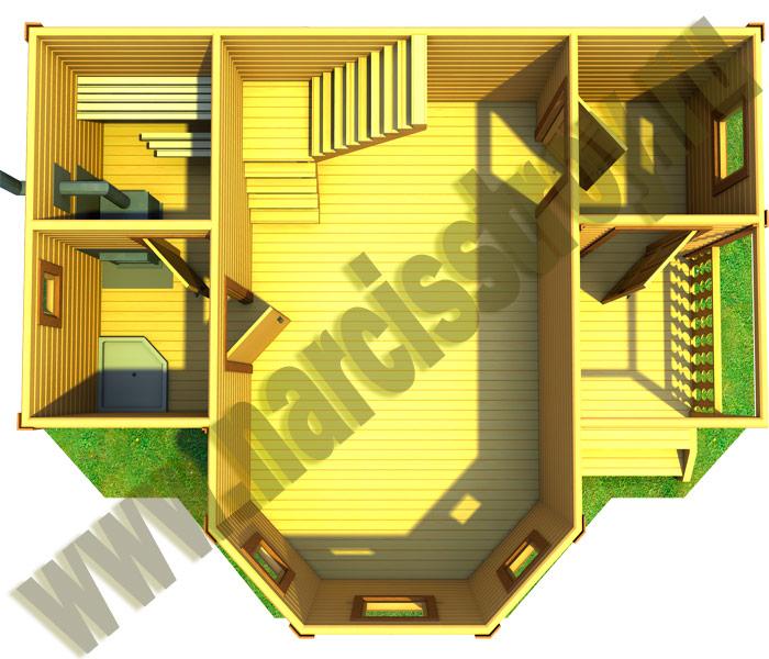 3-d схема 1-го этажа бани