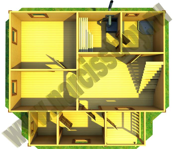 схема 1-го этажа Дом-баня