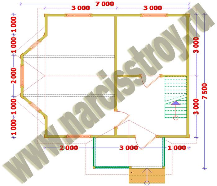 Схема 1-го этажа дома 7х7.5 с
