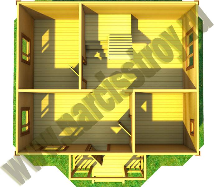 3-d схема 1-го этажа дома