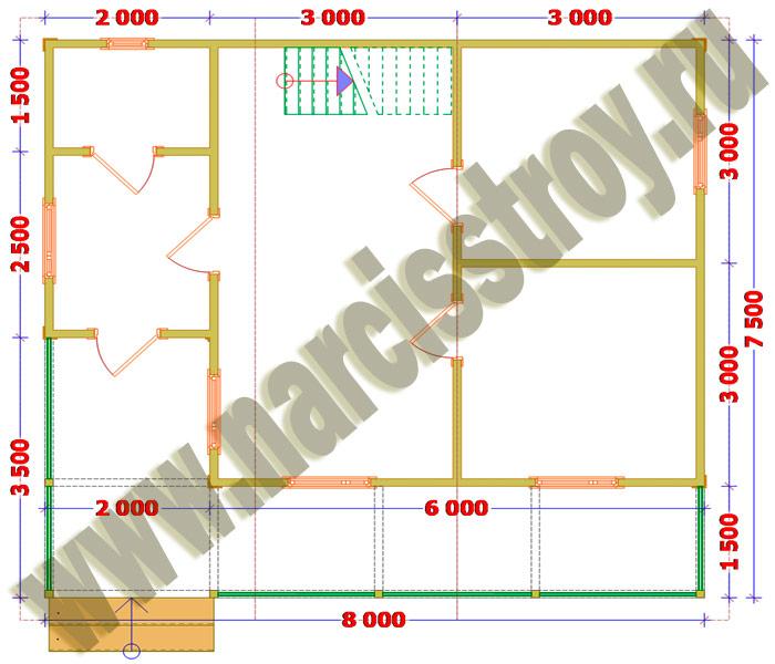 Схема 1-го этажа брусового