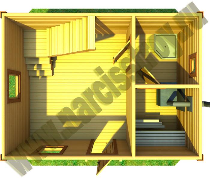 этажа бани 6х4 с мансардой