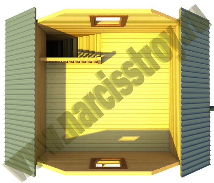 3-d план 2-го этажа бани