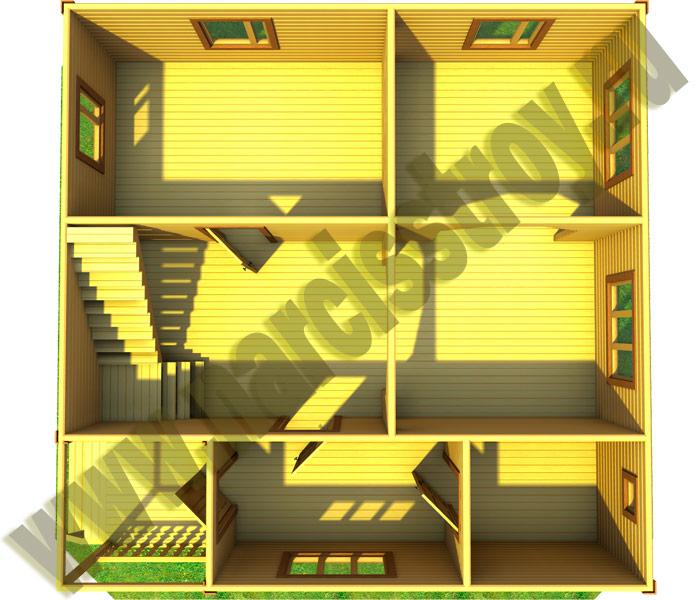1-го этажа Проект дома 8*8