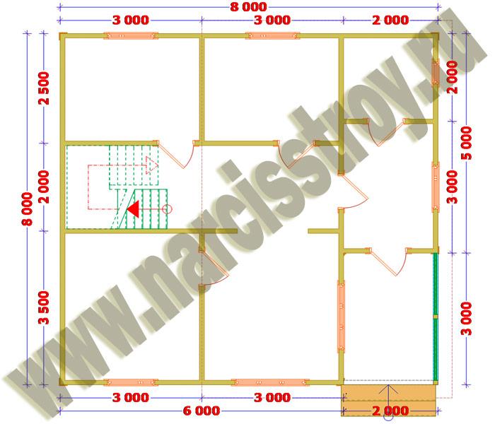 Схема 1-го этажа двухэтажного